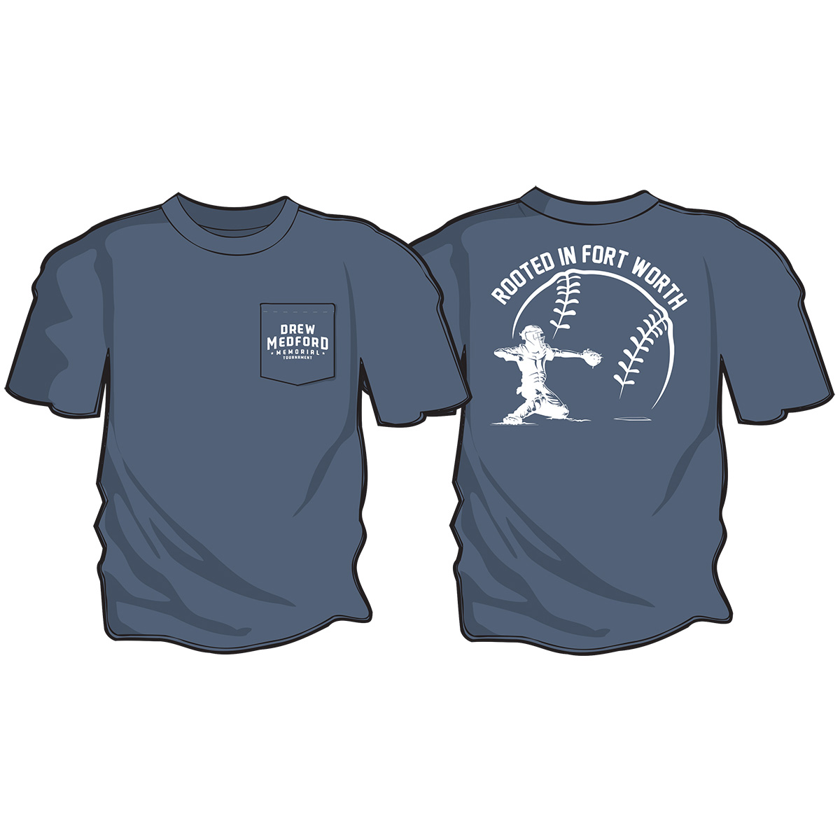 Drew Medford memorial Tournament Blue T-shirt
